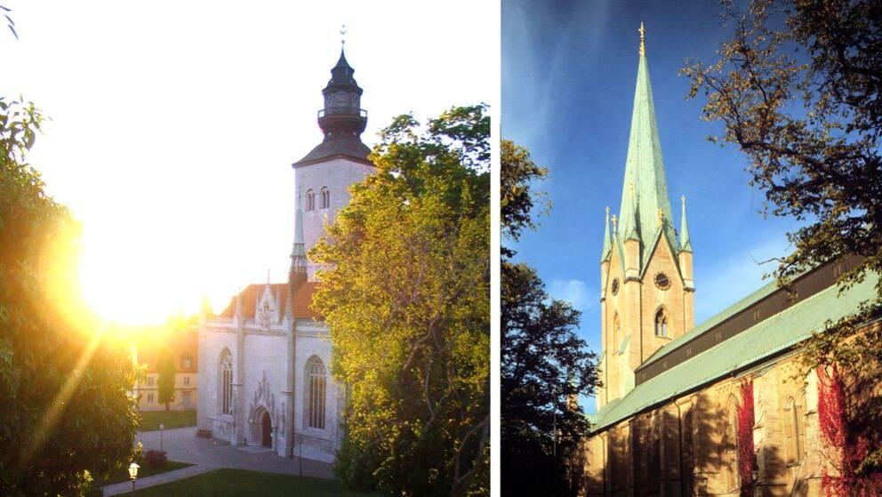 montage, bilder utifrån på Visby domkyrka samt Linköping domkyrka.
