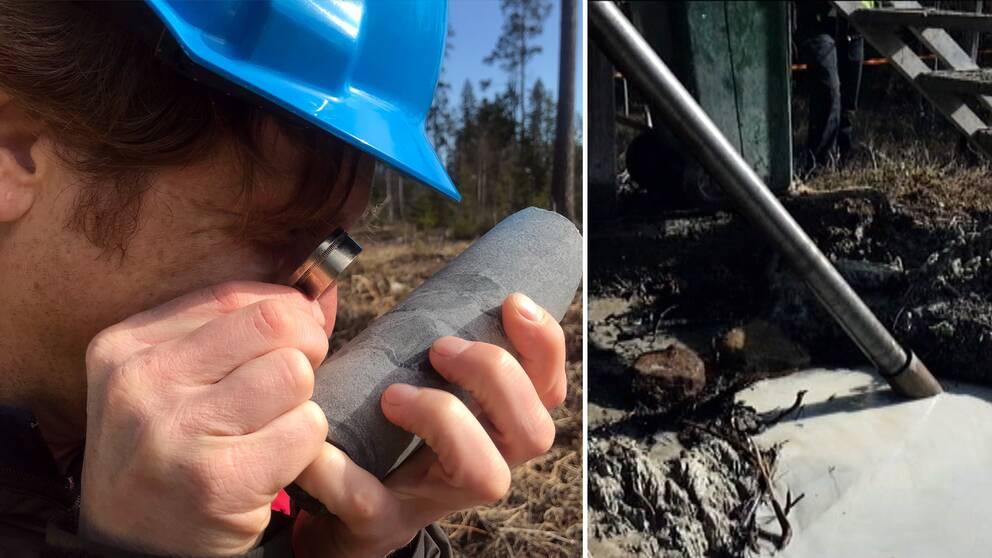 geologen Hein Raat tittar på en borrkärna med ett förstoringsglas. I skogen vid Riddarhyttan.