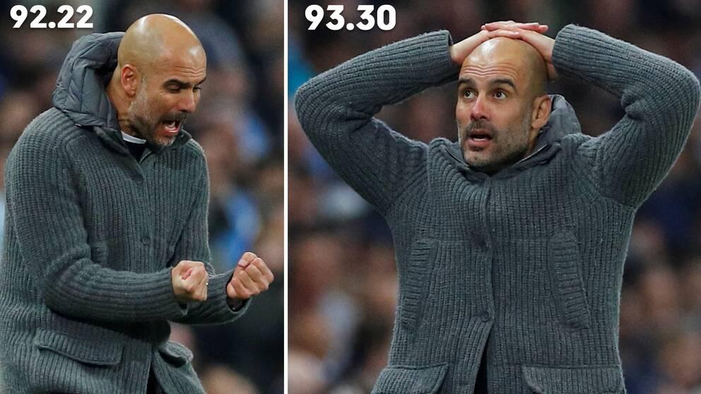 Från himmel till helvete. På drygt en minut gick Manchester City från extas till tomhet när Raheem Sterlings 5-3-mål blev underkänt för offside efter VAR-granskning.