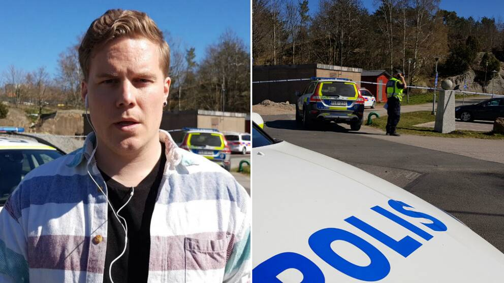 Reporter, poliser på plats
