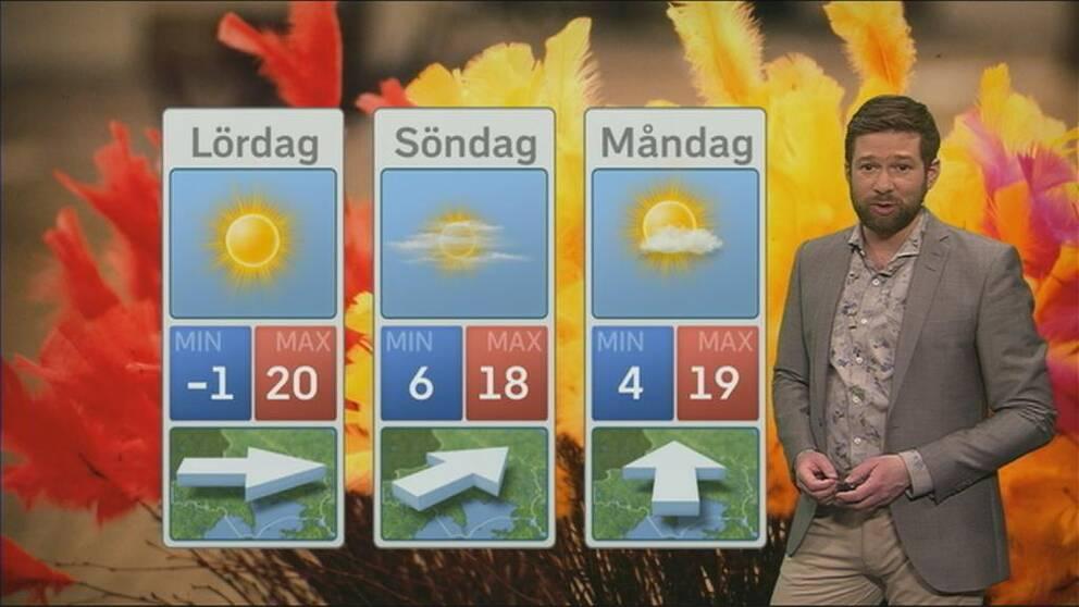 Meteorolog Nitzan Cohen brevid en väderprognos med sol och varma temperaturer