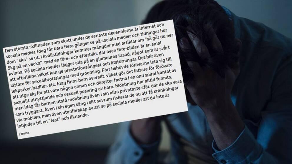 En bild med en person som begravt sitt ansikte i sina händer och ett utdrag från SVT:s chatt.
