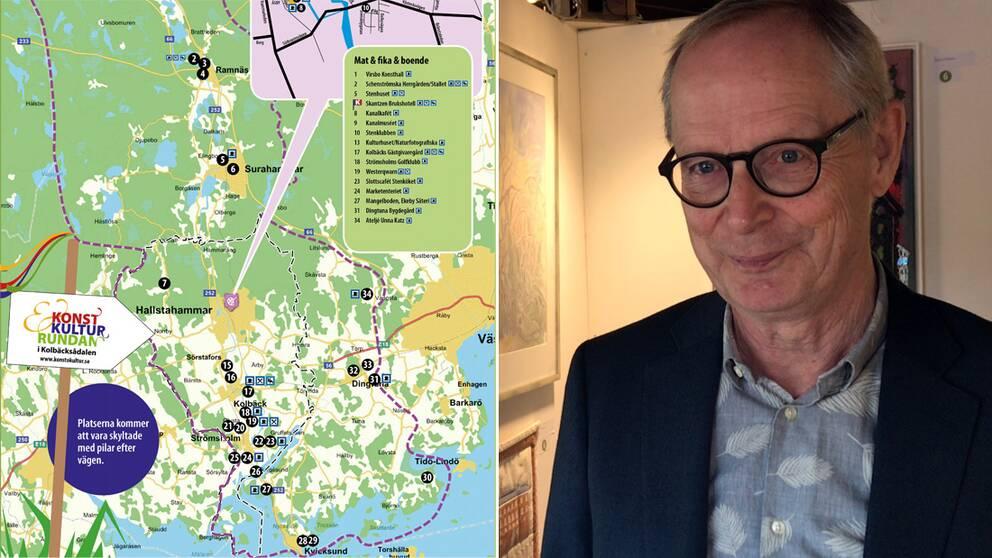 Utställningslokalerna under konst- och kulturrundan i Kolbäcksådalen är spridda från Virsbo i norr till Kvicksund i söder berättar Ulf Öhlander.