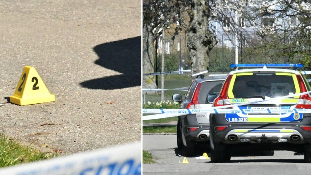 Polis på Skabersjögatan i Malmö, där polisen sköt en man i benet.