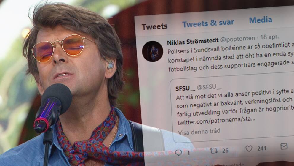 """Artisten och AIK-supportern Niklas Strömstedt menar att polisen i Sundsvall visar på """"obefintligt bollsinne"""" genom flaggförbudet."""