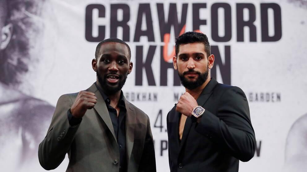 Boxningsstjärnorna Terence Crawford (vänster) och Amir Khan (höger).