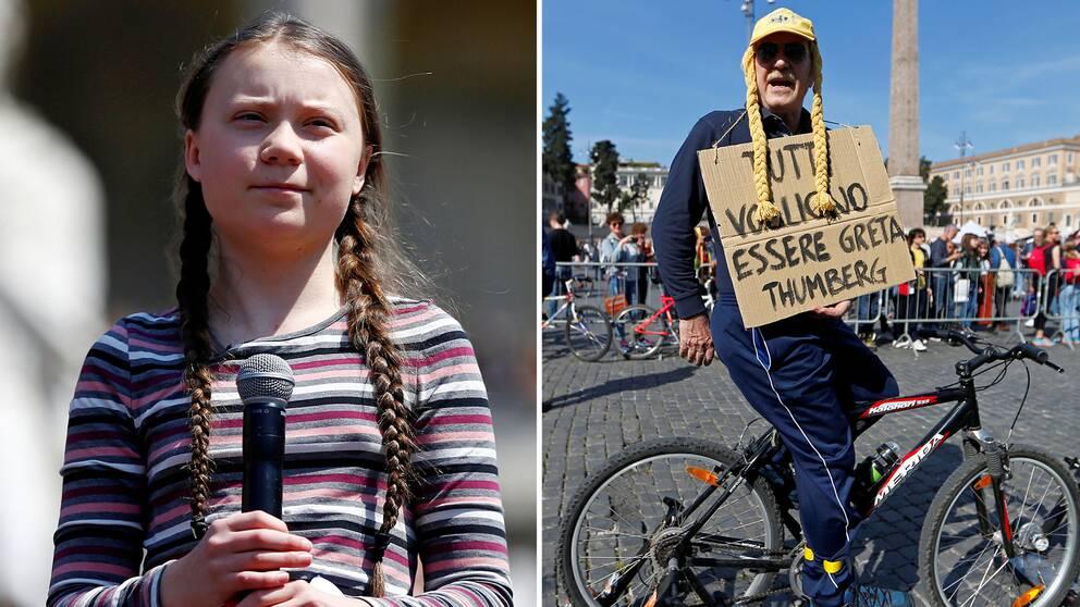 Greta Thunberg och man på cykel.