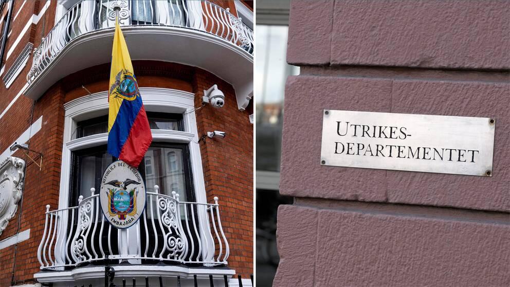 Ecuadors ambassad i London och Utrikesdepartementet vid Gustav Adols torg. Arkivbilder.