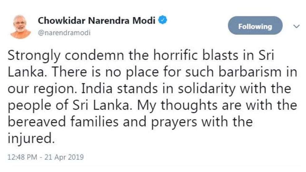 Tweet där Indiens premiärminister fördömer attackerna i Sri Lanka.
