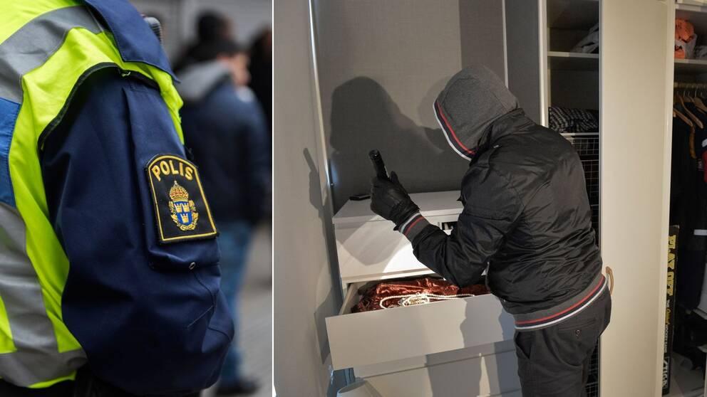 En arrangerad bild på en inbrottstjuv i huvtröja, med handskar och ficklampa, som letar igenom en byrå på jakt efter värdeföremål. En bild med en polis.