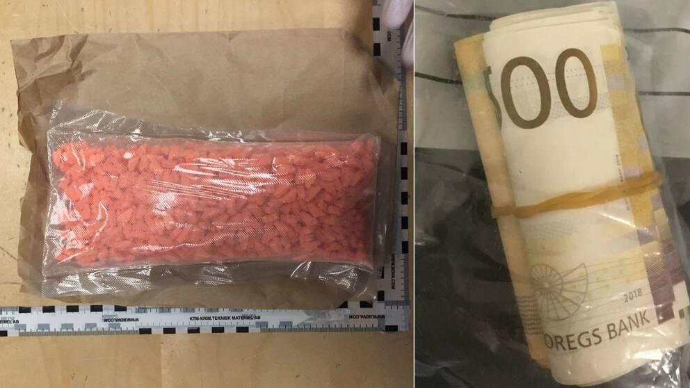 Bild på en plastpåse fylld med orangea tabletter, samt en bild på en rulle med norska sedlar
