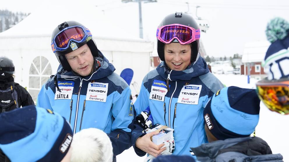 Victor Öhling Norberg och Anna Holmlund under världscuptävlingarna i Idre 2016.