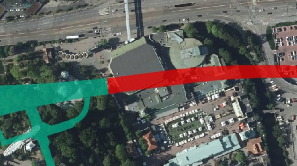 Karta över vart västlänken kommer gå genom Liseberg. Två restauranger på Liseberg kommer behöva rivas.