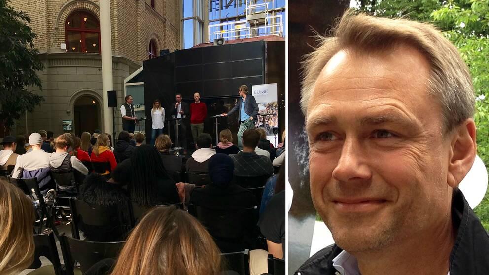 En ihopsatt bild från Kulturmagasinet och ett porträtt på Björn Kjellström som jobbar på EU-parlamentets Sverigekontor.