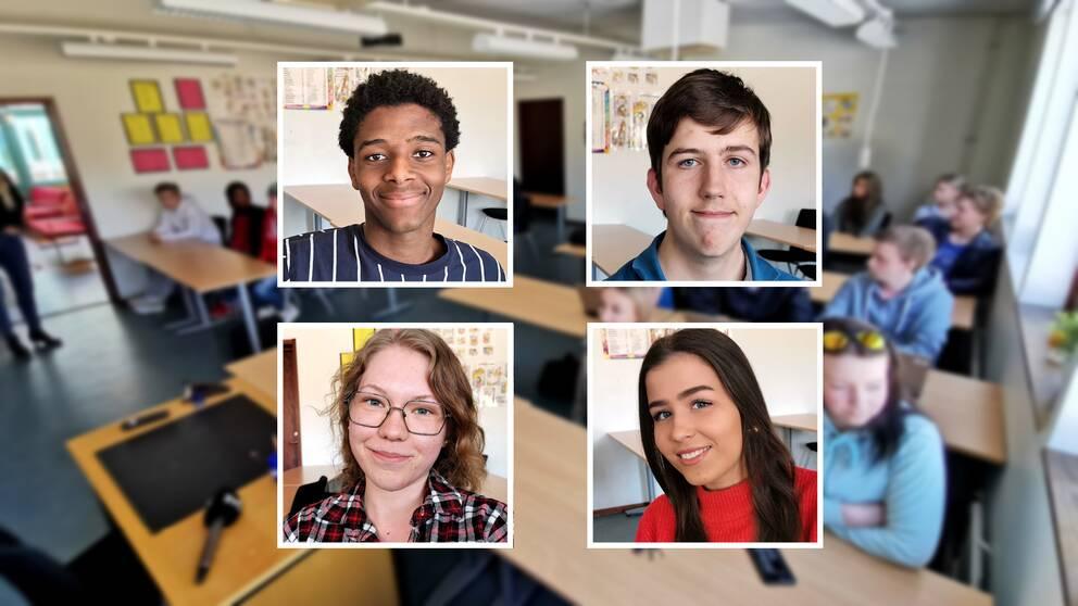 Ett kollage med fyra porträtt på elever från Timrå gymnasium.
