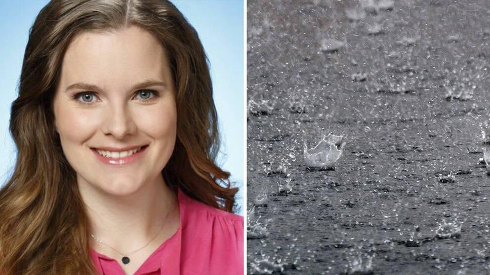 SVT:s meterolog, Tora Tomasdottir och regn.