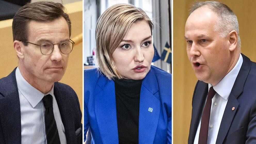Ulf Kristersson (M), Ebba Busch Thor (KD) och Jonas Sjöstedt (V)
