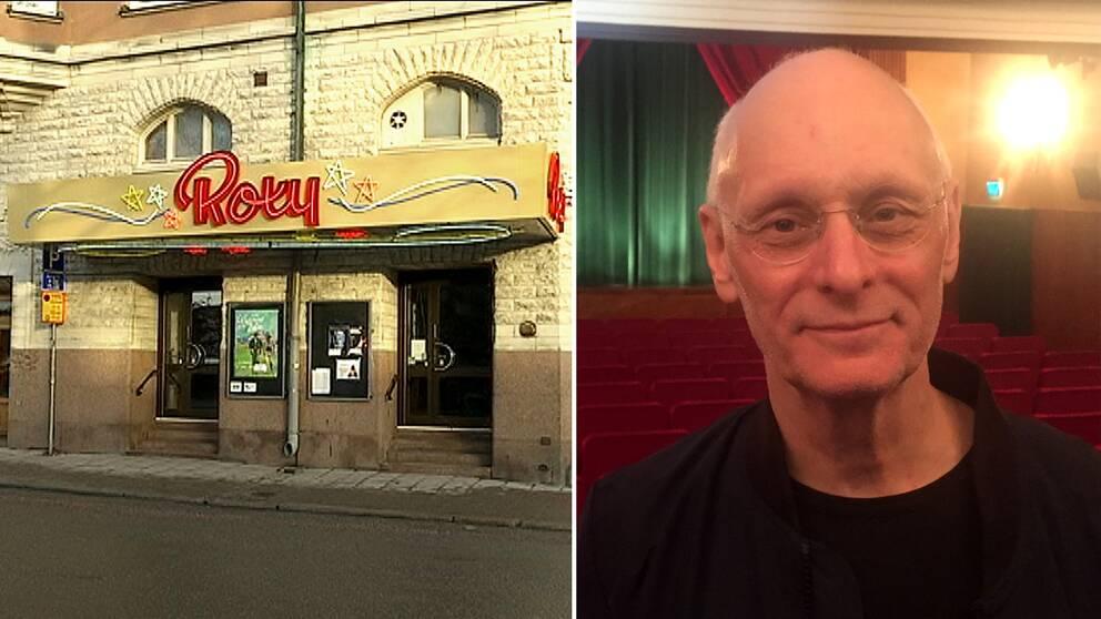 Till höger en porträttbild på Kjell Andersson, föreståndare på Roxy i Örebro, inifrån biografen. Till vänster en bild på entrén till biografen.