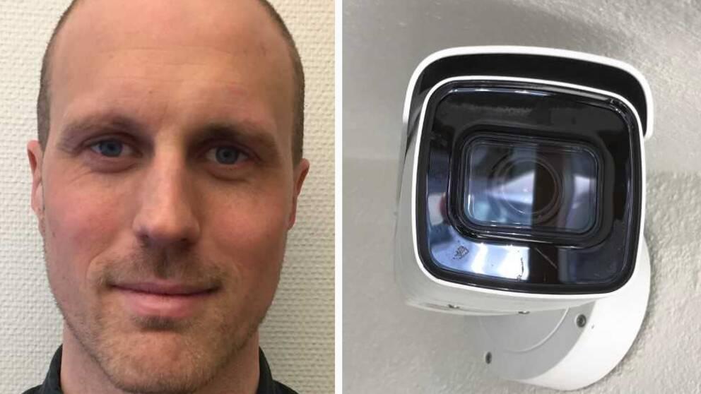 Collage i två delar där ett vitt streck går lodrätt i mitten. Vänster bildhalva: Ett personporträtt av en man. Höger bildhalva: En bevakningskamera.