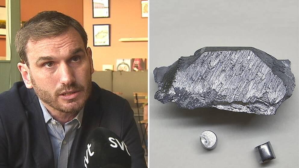 Scandivanadiums vd David Minchin och en bit vanadium.