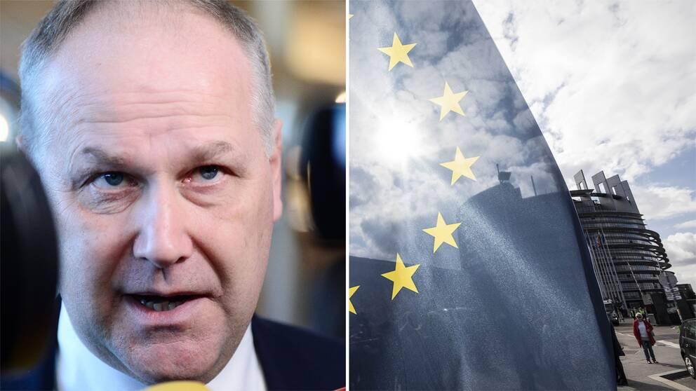 Vänsterpartiets Jonas Sjöstedt och bild på EU-flaggan i förgrunden och Europaparlamentet i bakgrunden.