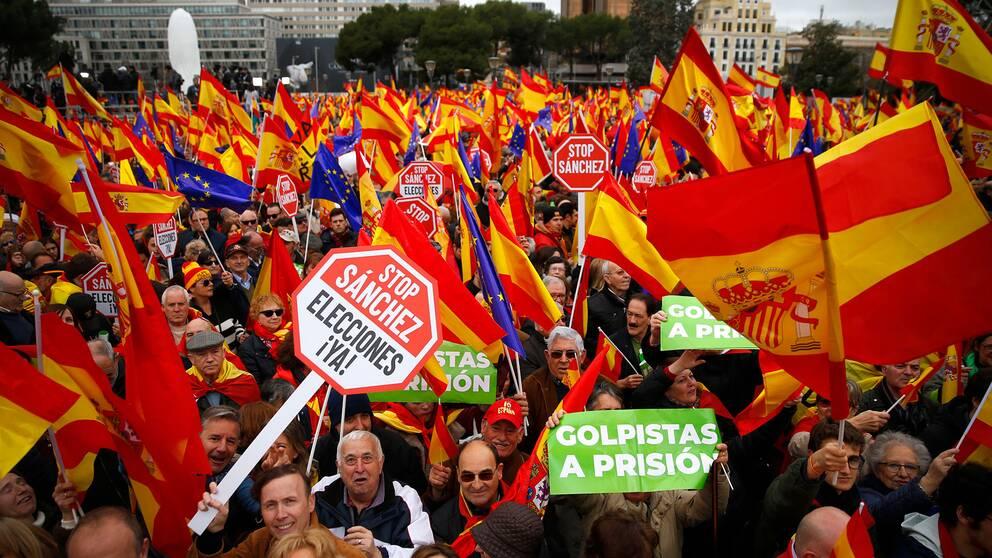 Demonstranter mot Pedro Sànchez socialdemokratiska regering i februari 2019, som efterlyser nyval.
