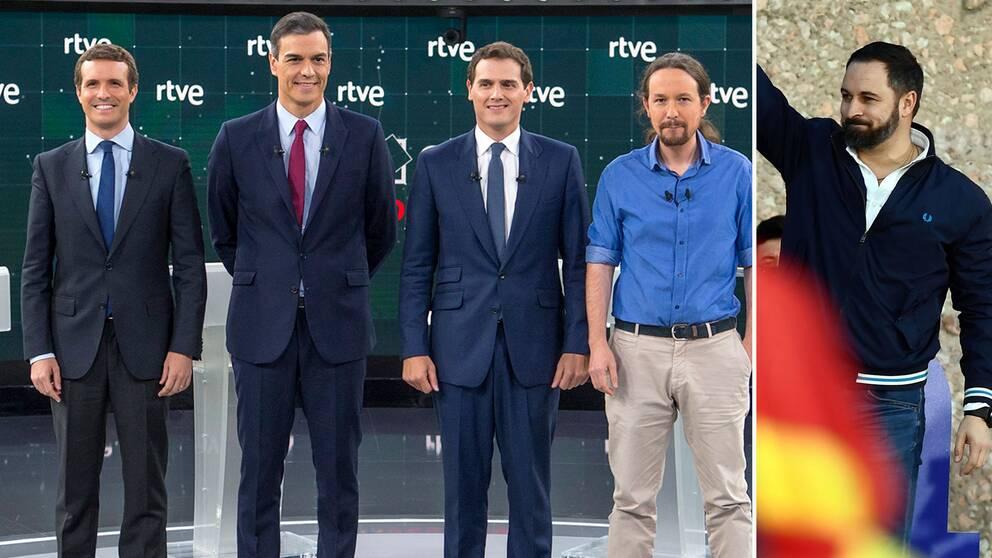 Det spanska valets huvudkandidater samlade till en tv-debatt. Från vänster: Pablo Casado (Partido Popular), Pedro Sánchez (PSOE), Albert Rivera (Ciudadanos), Pablo Iglesias (Podemos). I bilden till höger Santiago Abascal (Vox).