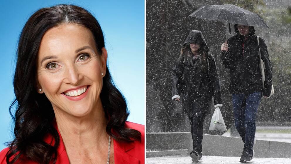 Pia Hultgren, SVT:s meteorolog och kvinna under paraplyg i ösregn.