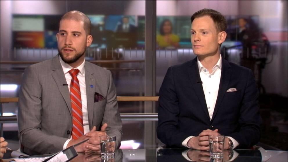 Rawas Nermany, ordförande Svensk pilotförening, och Torbjörn Granevärn, förhandlingschef Svenska Flygbranschen, debatterar i Morgonstudion.