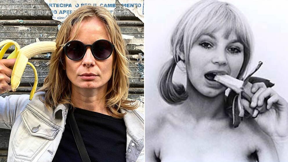 """Polska skådespelerskan Magdalena Cielecka är en av de som protesterar mot förbudet. Till höger en bild ur Natalia LL:s konstsvit """"Consumer art""""."""