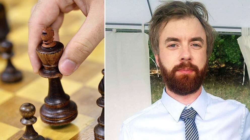 En hand lyfter en schackpjäs