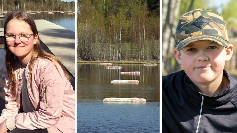 Elever på Kilboskolan, Alva Kullinger och Markus Andersson, syns i bilden tillsammans med halmbalar som flyter i Viggsjön. Halmbalarna har eleverna placerat ut för att minska övergödningen.