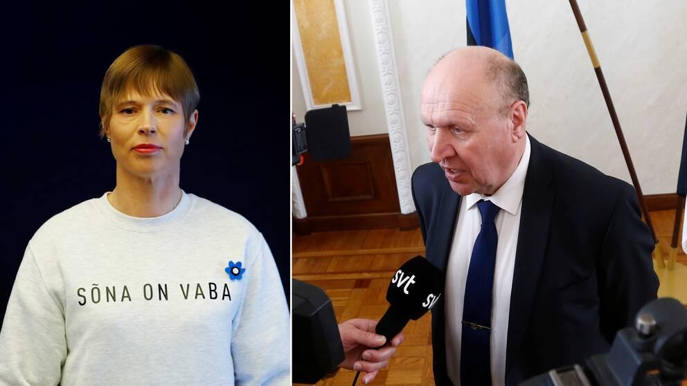 """Estlands president Kersti Kaljulaid i tröjan som hon bar i protest i parlamentet. Orden på tröjan betyder """"ordet är fritt"""". Till höger Mart Helme, Ekres partiledare och nu även landets inrikesminister."""