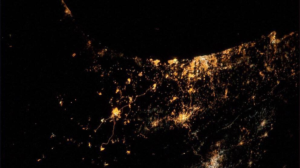 Gaza sett från rymden, twittrat av den tyske astronauten Alexander Gerst.