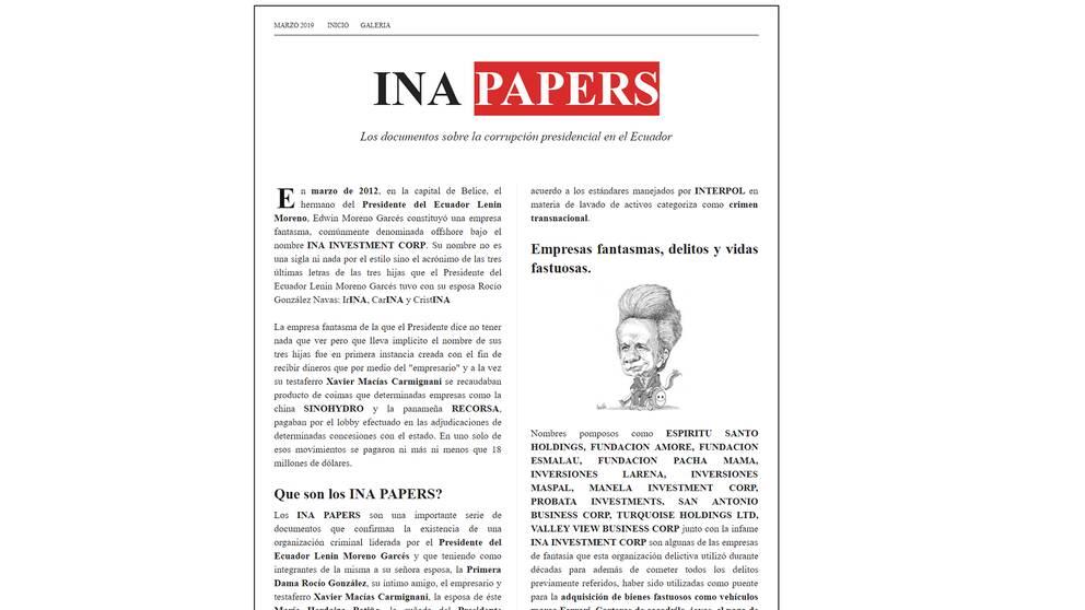 INA Papers. En läcka som vissa, däribland Rafael Correa, menar bevisar att president Moreno varit inblandat i korruption.