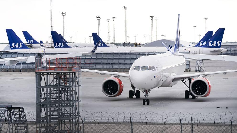 Parkerade SAS-plan på Kastrups flygplats i Köpenhamn