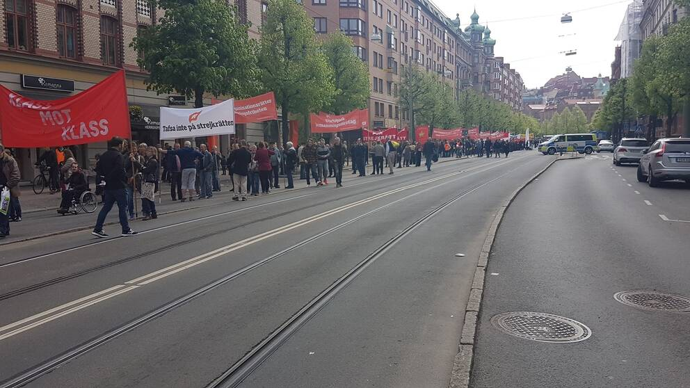 Första maj-tåg genom Göteborg
