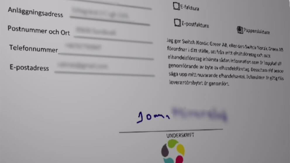 Avtalet som skrevs under med Johannas förfalskade namnteckning