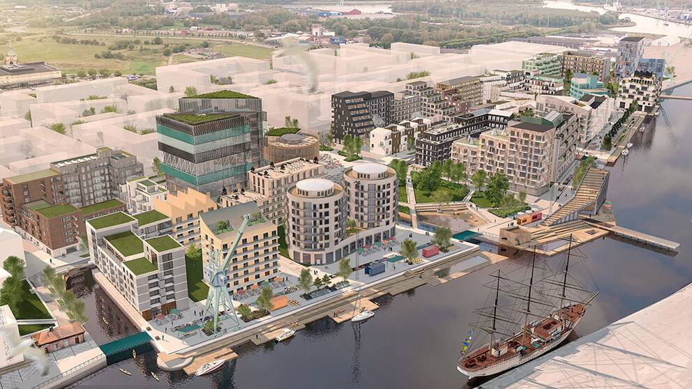 visionsbild över den nya stadsdelen inre hamnen i norrköping