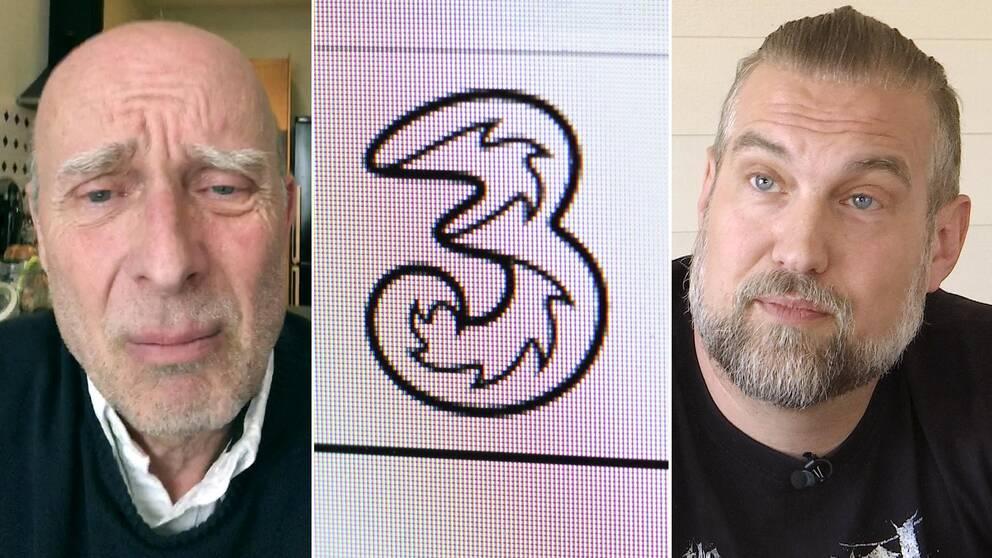 Två män och en företagslogga.