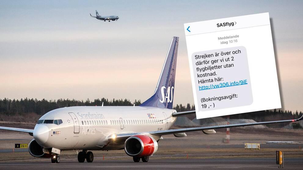 SAS-plan på marken, skärmdump av ett bluff-sms.