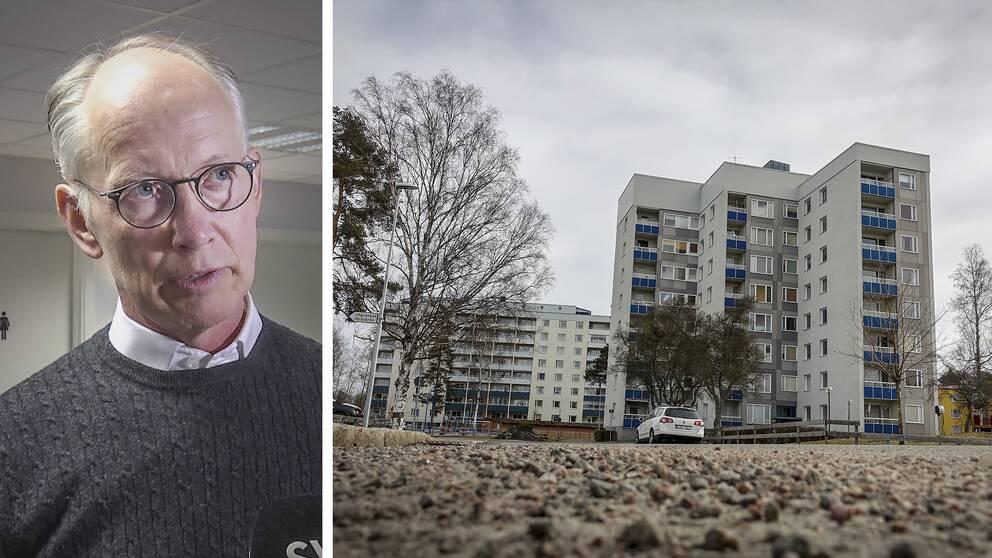 Collage med Johan Persson, finanschef på Sandvikenhus, och ett hyreshus på Svarvargatan.