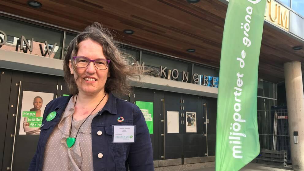 Camilla Hansén som är distriktsordförande för Miljöpartiet i Örebro län.