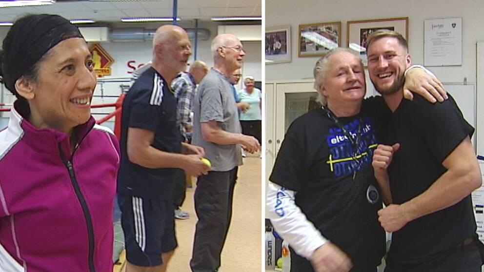 en kvinna och några äldre män som står leende och tittar på Calle och Otto Walin – far och son.