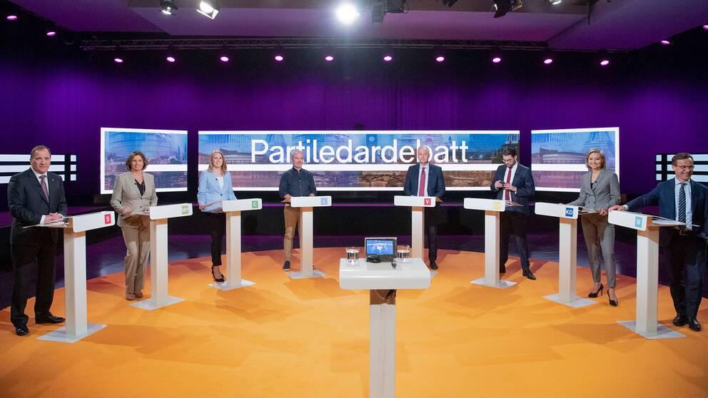 Partiledardebatt i SVT Agenda. Från vänster; Stefan Löfven (S), Isabella Lövin (MP), Annie Lööf (C), Jan Björklund (L), Jonas Sjöstedt (V), Jimmie Åkesson (SD), Ebba Buch Thor (KD) och Ulf Kristersson (M).