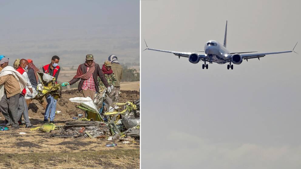 Hjälparbetare vid olycksplatsen för det Ethiopian Airlines-plan som kraschade den 10 mars 2019 i söder om Addis Ababa, Etiopien.