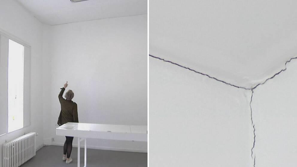 Ulla Mogren visar sprickorna som orsakats av arbetet med Västlänken, enligt henne.