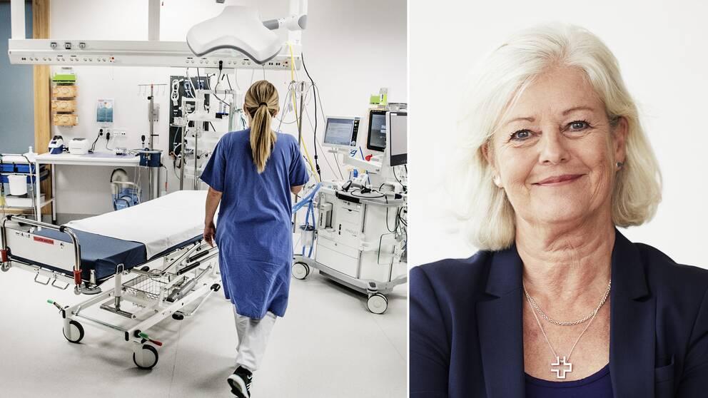 Sjuksköterska med ryggen mot kameran i undersökningsrum. Ann Johansson, vice ordförande Vårdförbundet.