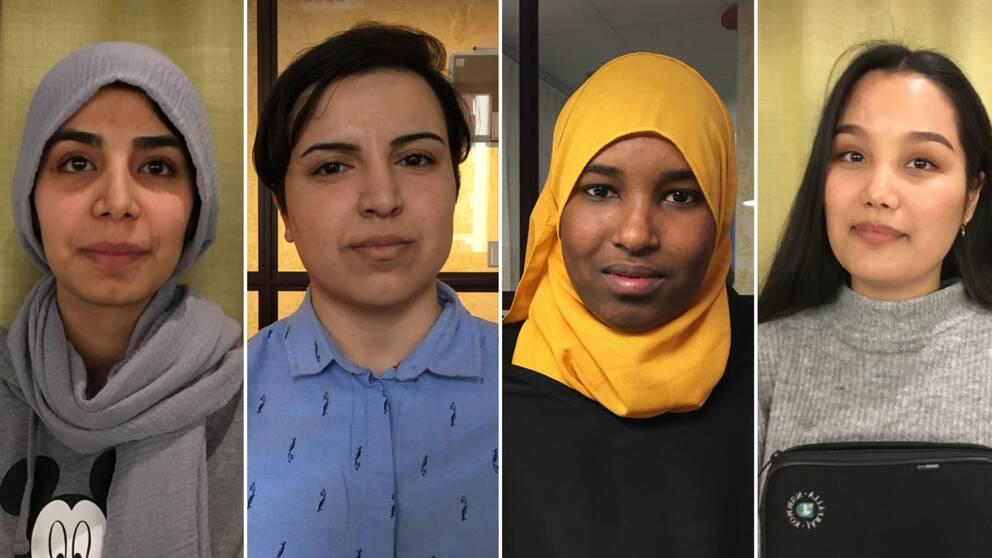 Porträtt på de fyra flickorna Petra och Marzieh från Afghanistan, Amal från Somalia och Masoumeh från Iran.