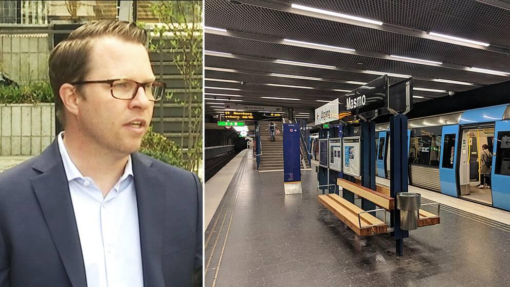 Fredrik Bouvin och Masmos tunnelbanestation